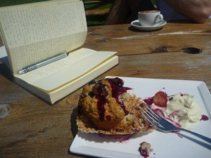 My perfect choice of creative fuel - a berry muffin and clotted cream  Heaven!