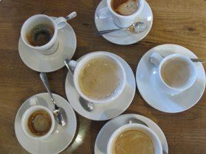 six coffees from above - photo @SandraDanby