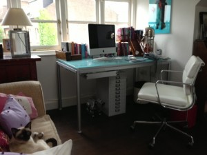 I love my little office up in the attic. I'm surrounded by my favourite things. Notice my small furry assistant in the bottom left hand corner.