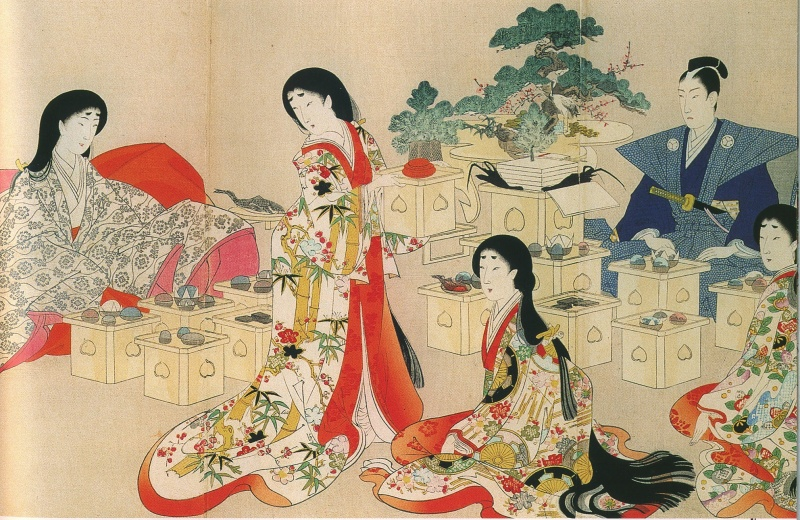 Long black hair of the women of the Women's Palace (by Chikanobu Toyohara: Chiyoda No Ooku triptych)