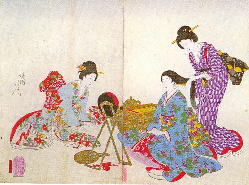 Ladies at their toilette (by Hashimoto Shuen: Chiyoda No Ooku)