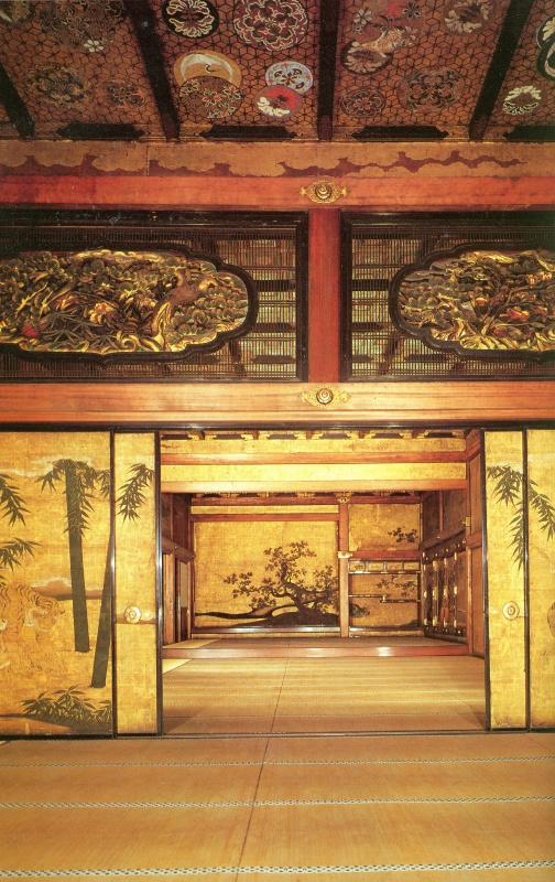 Lavish gold leaf covered walls (actually in Nijo Caslte, Kyoto)